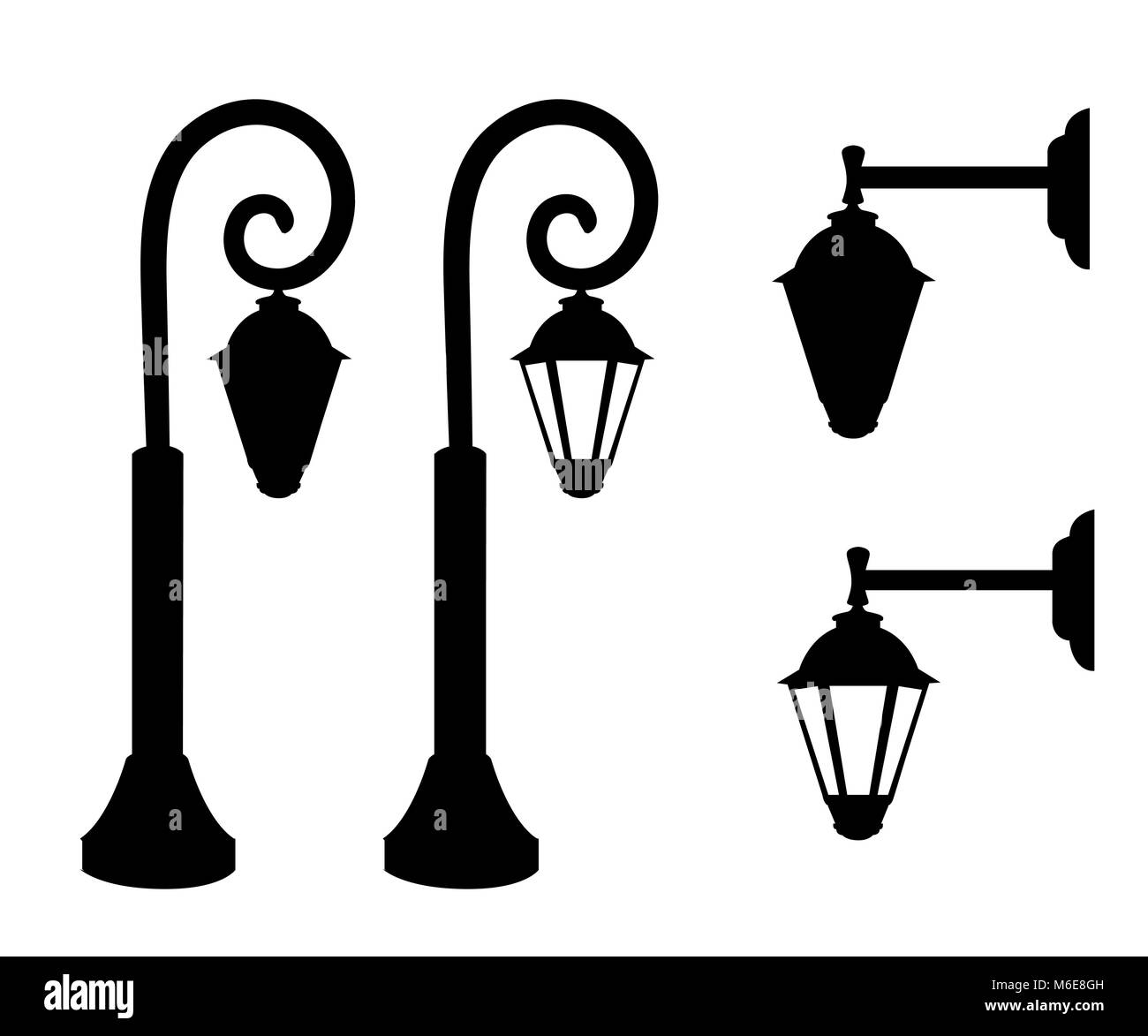Silhouette of vintage streetlights. Vector retro street lamp lights isolated on white background. Web site page Stock Vector