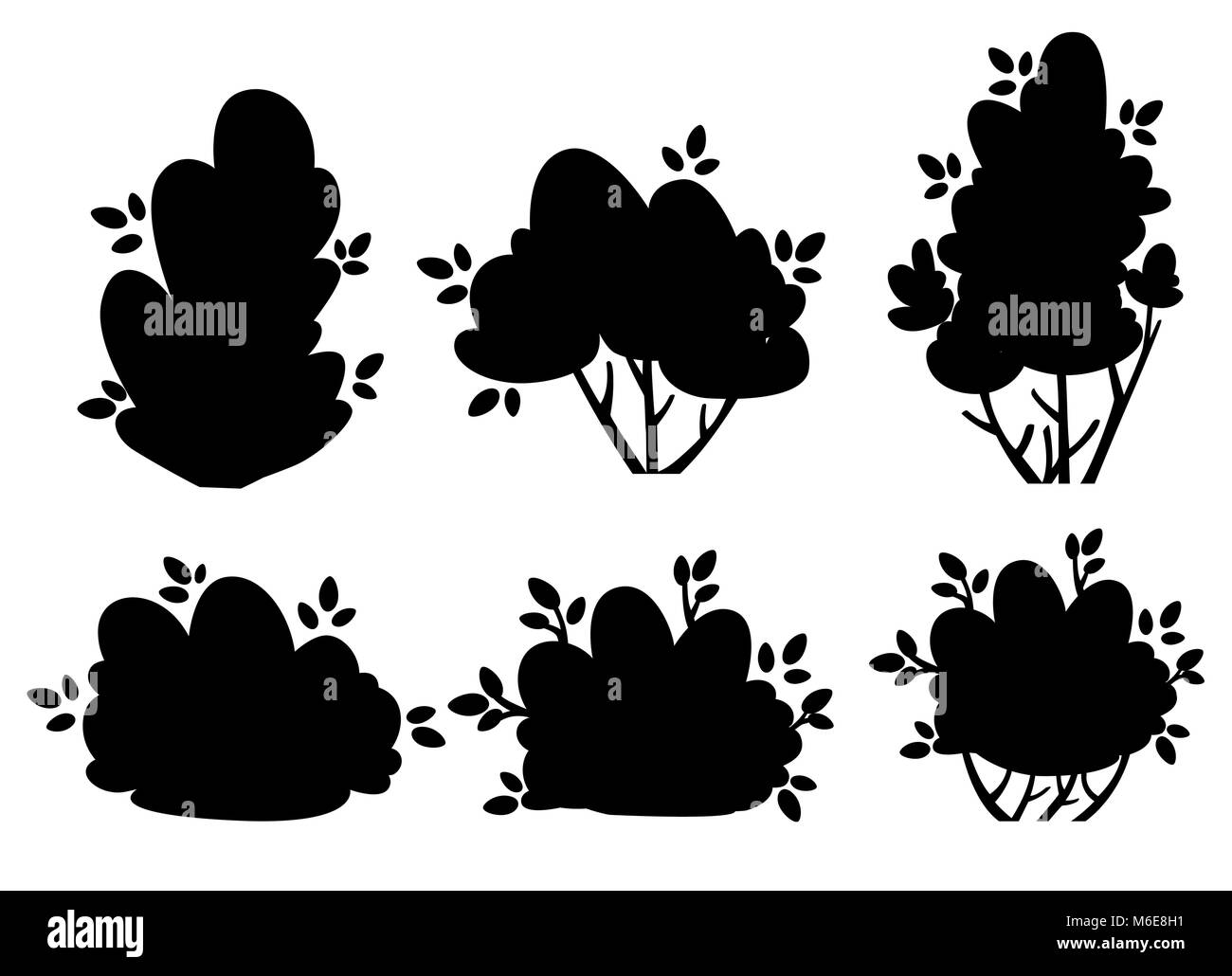 Set of silhouettes bush and garden trees for park cottage and yard vector illustration isolated on white background - Stock Vector