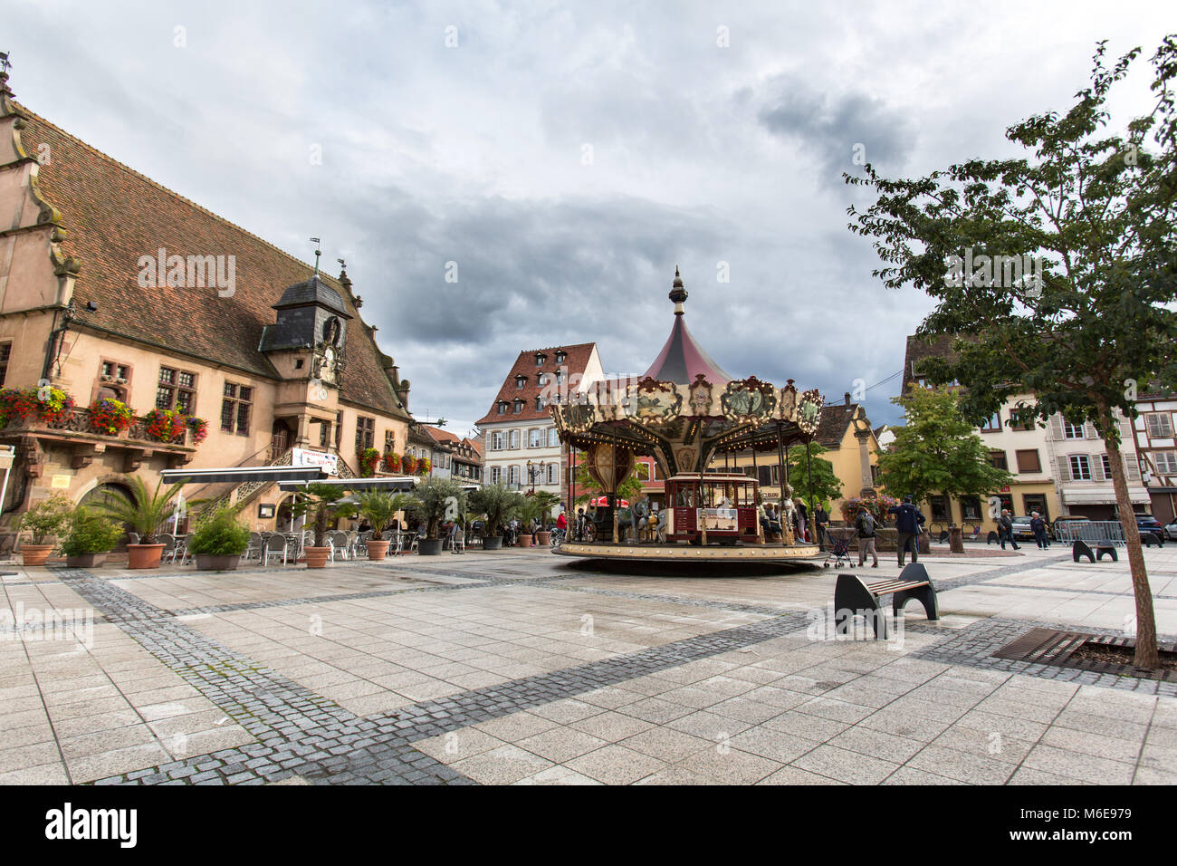 City of Molsheim, France. Picturesque view of Molsheim town centre and square, with the 16th century Renaissance - Stock Image
