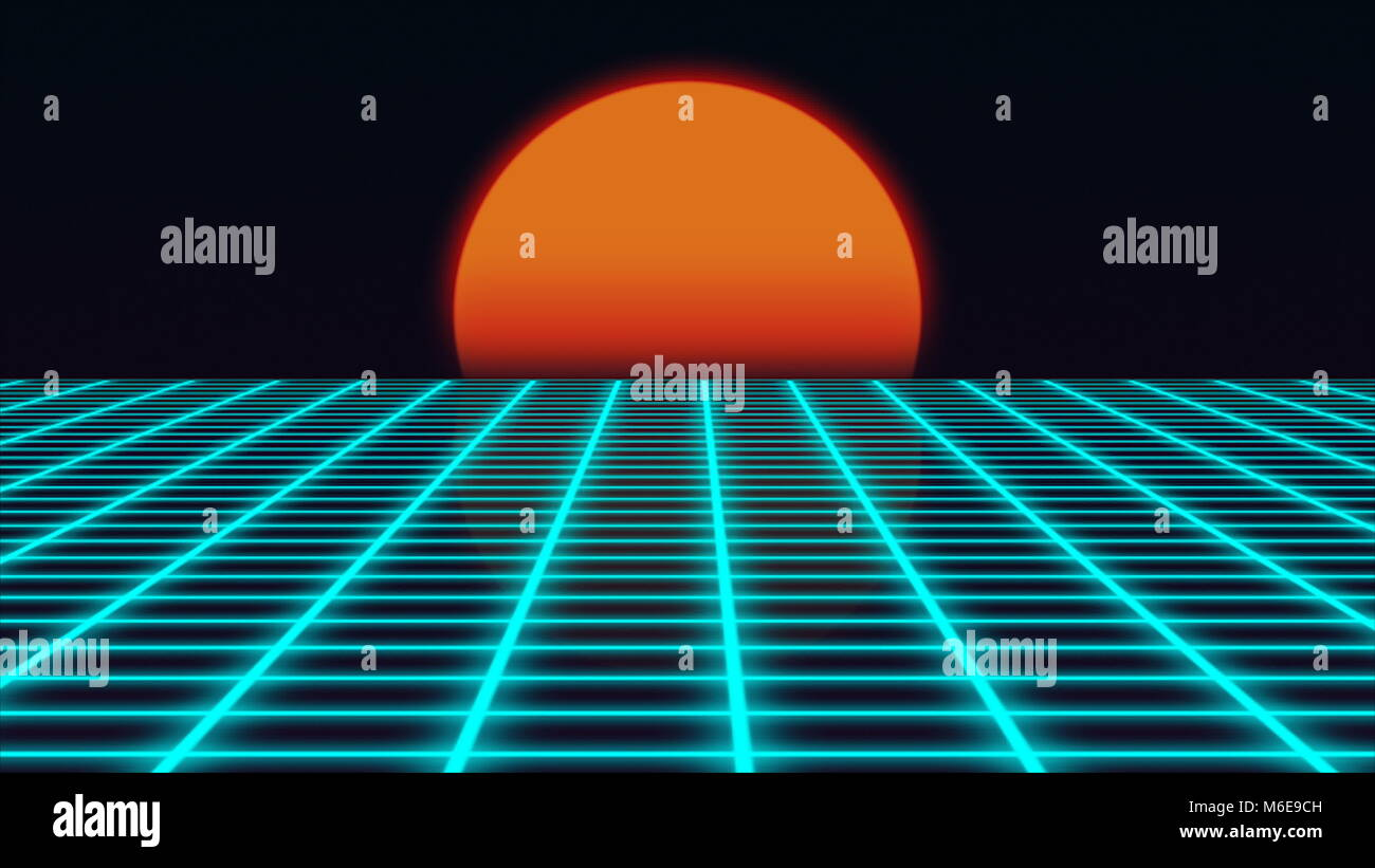 Retro futuristic landscape with sunset 1980s style, digital summer landscape with grid surface, 3D rendering Stock Photo