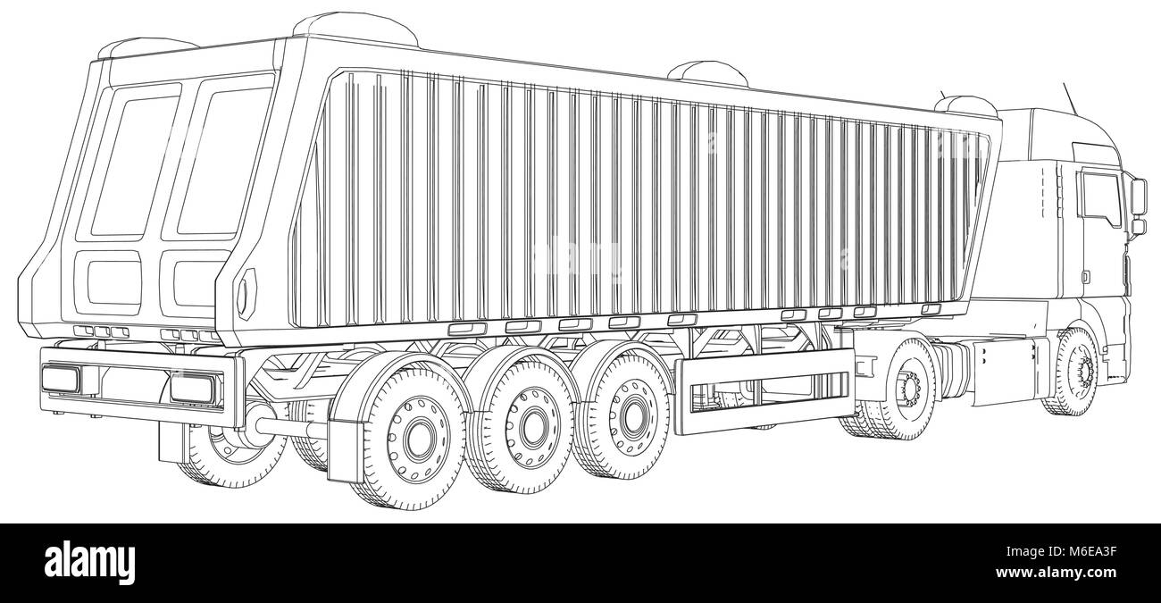 Semi-trailer dump truck sketch isolated on white background