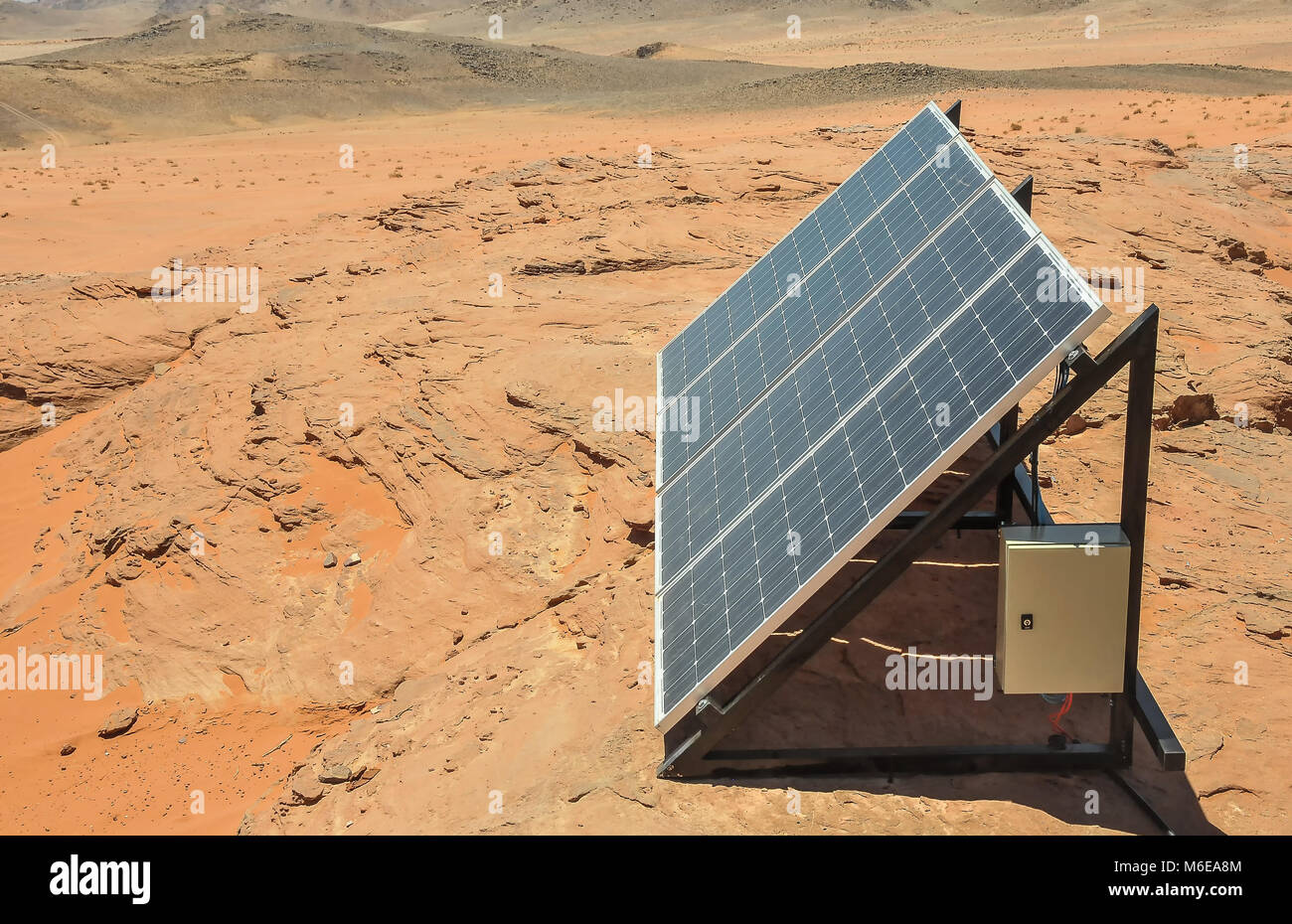 A solar panel used by Bedouins in the desert of Wadi Rum ...