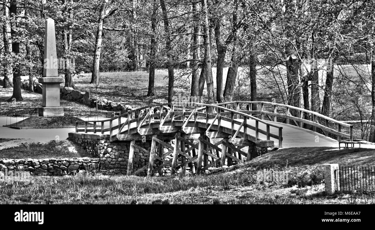 This is a view of the famous North Bridge in Concord, MA, USA - Stock Image