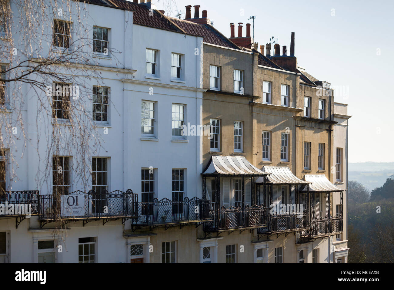 A terrace of Georgian houses with elegant iron balconies at Sion Hill, Clifton, Bristol, overlooking the Suspension Stock Photo