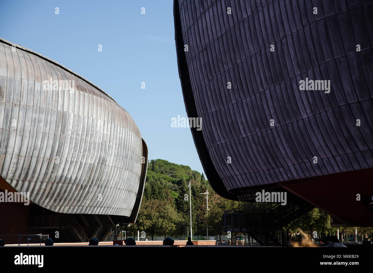 Rome, Italy. 01 November, 2017. Auditorium Parco della Musica, designed by architect Renzo Piano. View of the external Stock Photo
