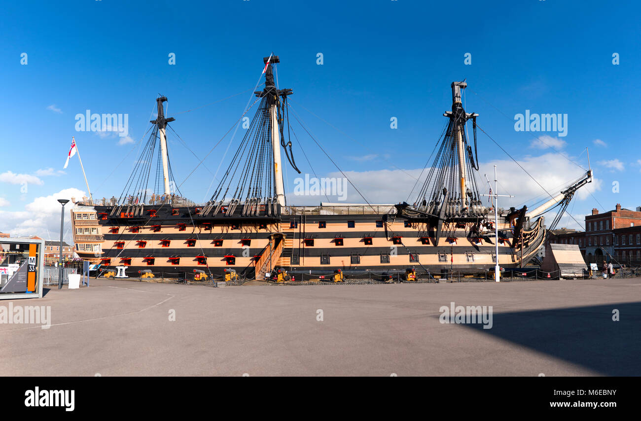 HMS Victory at the historic dockyards in Portsmouth. UK. The Victory was Admiral Horatio Nelson's flagship at - Stock Image