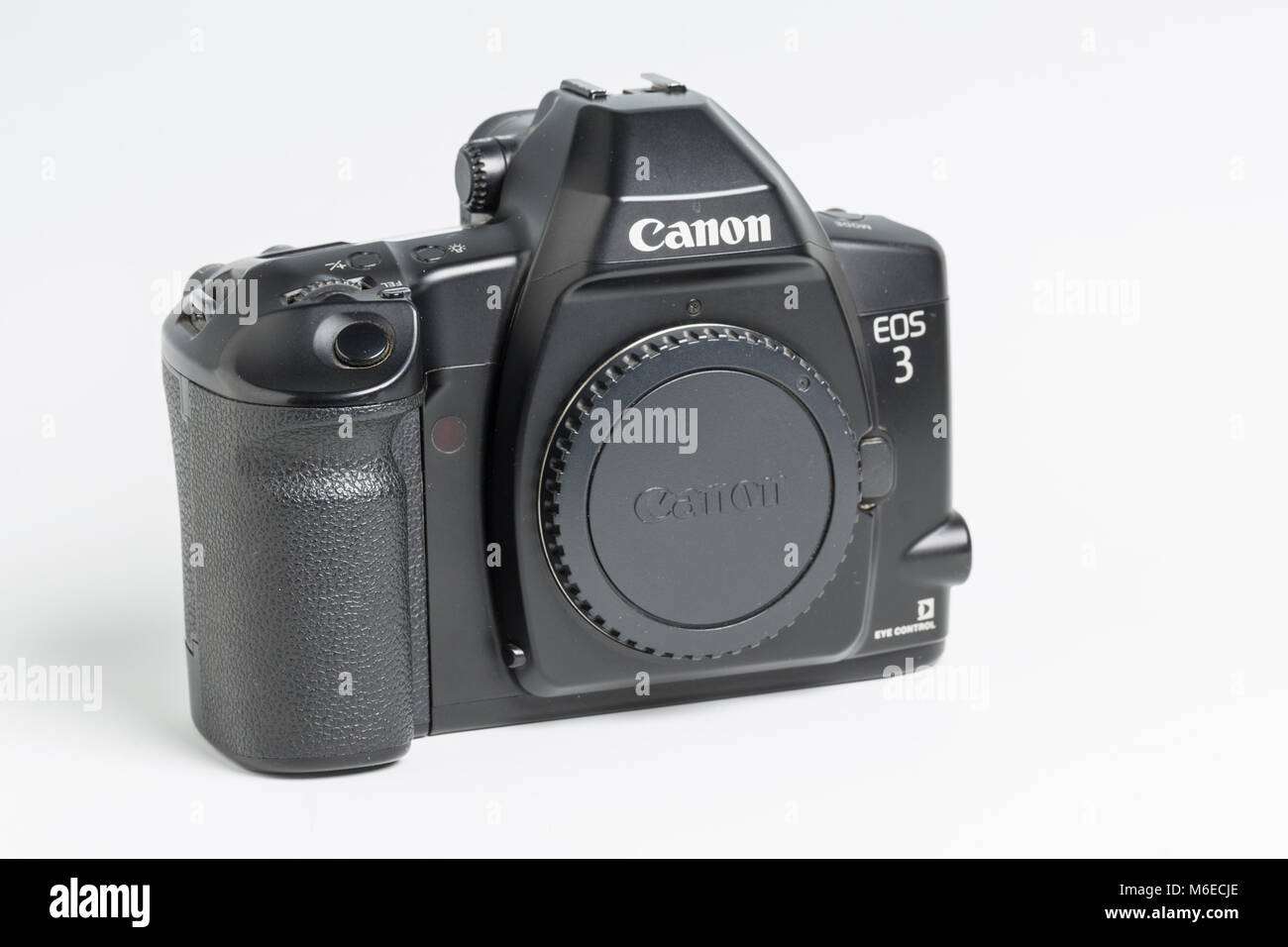 Canon EOS 3 semi-professional SLR film camera with eye-controlled focussing.  Introduced 1998. - Stock Image