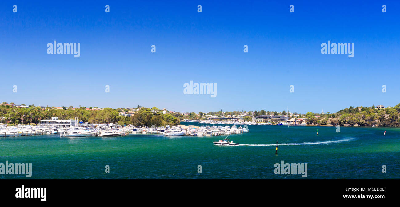 Swan Yacht Club, the Swan River and East Fremantle as viewed from Mosman Park. - Stock Image