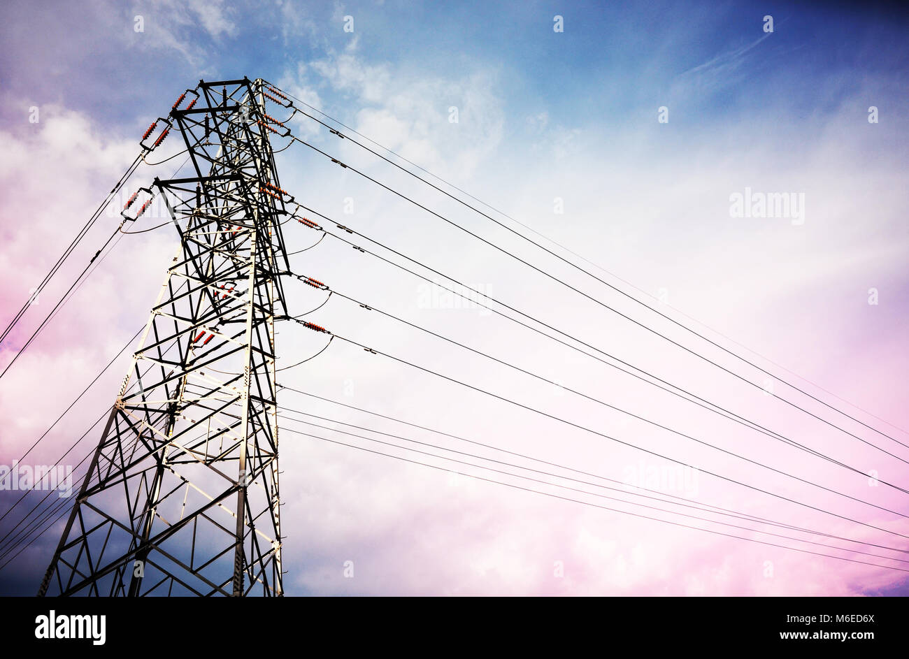 High-voltage wire, transmission of electricity Stock Photo ...