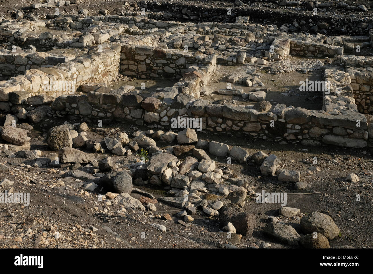 Ancient archeological finds from Biblical times at Magdala Archeological site located on the shore of the sea of Stock Photo