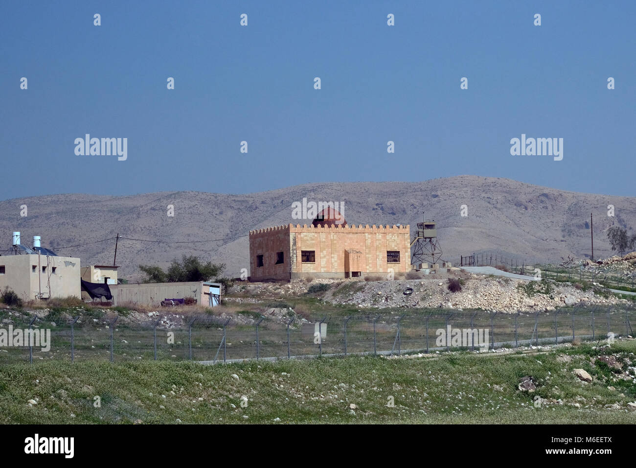 An old Islamic structure is seen in a former Jordanian military base now the Israeli military camp of Division 417 - Stock Image
