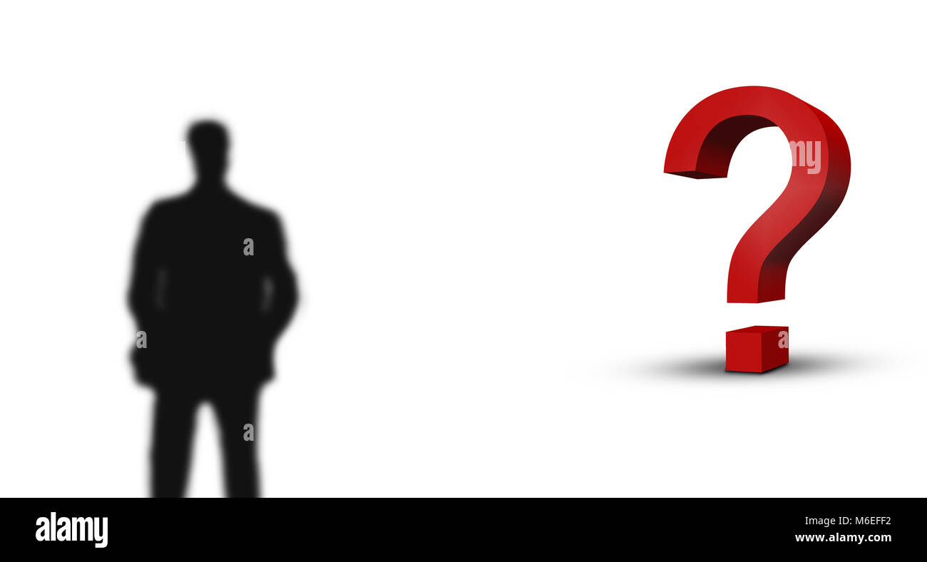 large red 3d question mark and blurred business man - Stock Image