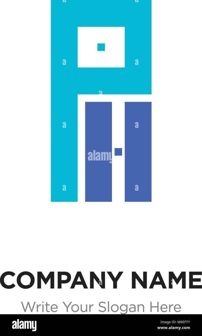 Abstract letter PH or HP logo design template, Black Alphabet ...