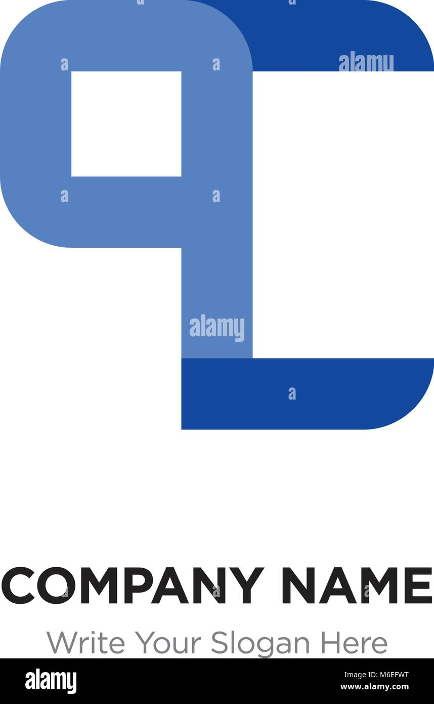 Abstract letter QC or CQ logo design template, Black Alphabet ...