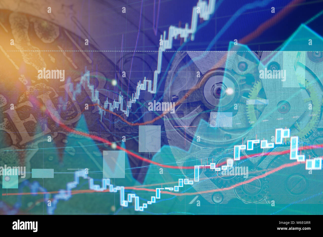 Stock exchange chart graphs - Finance business background. Collage - Stock Image