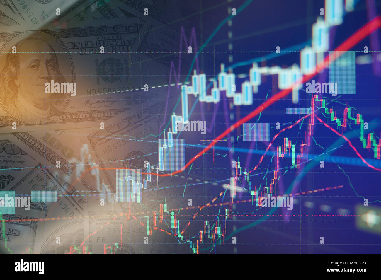 Stock exchange chart graphs - Finance business background - Stock Image