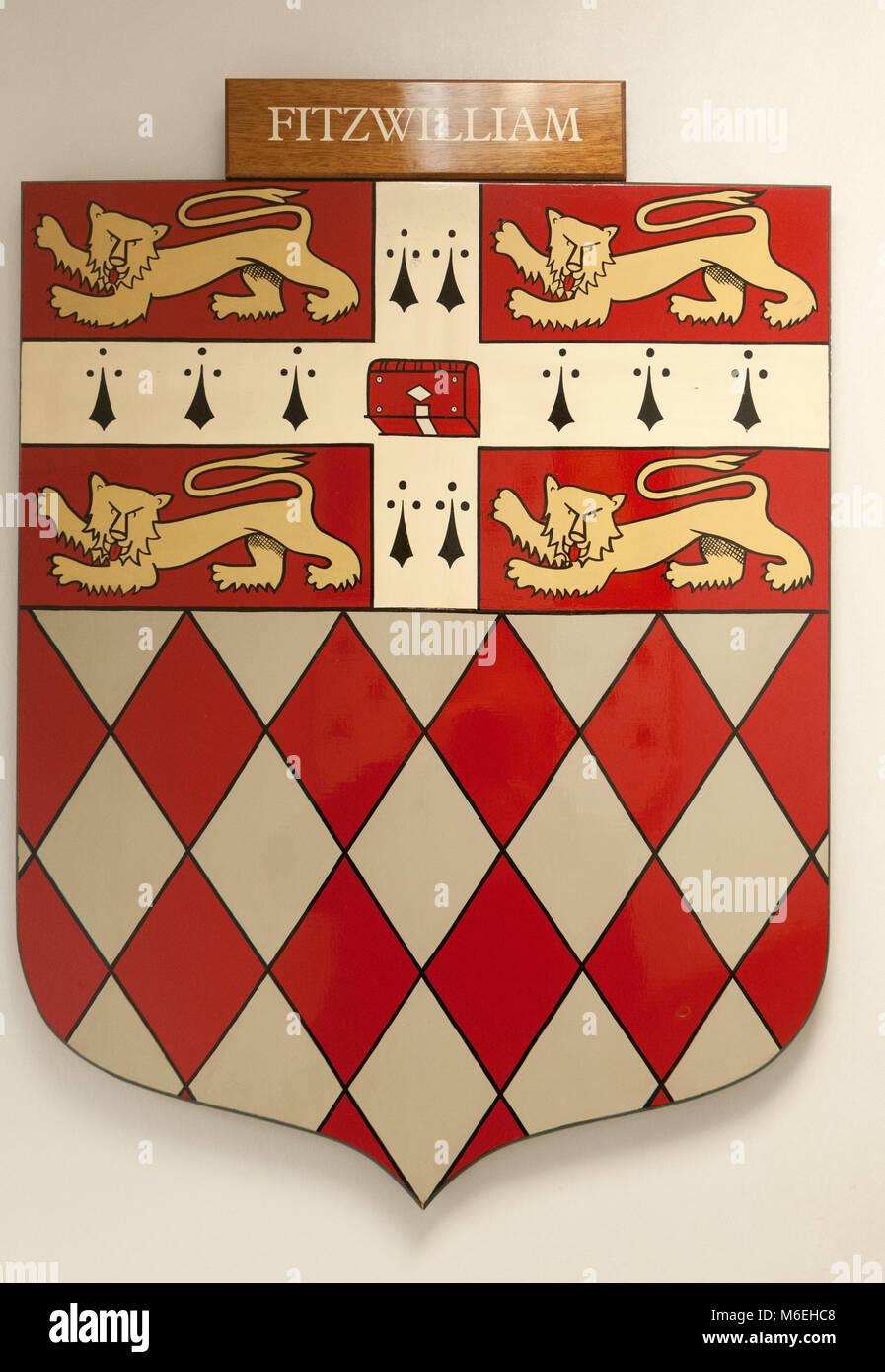 CAMBRIDGE, ENGLAND, UK - DECEMBER 03 2011: Coat of Arms of Fitzwilliam College Cambridge - Stock Image
