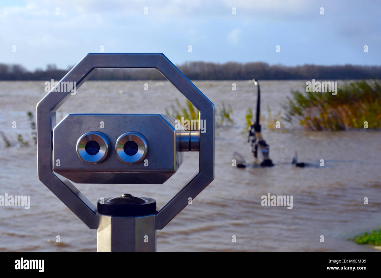 Submerged anchor on the banks of the river Elbe - Stock Image