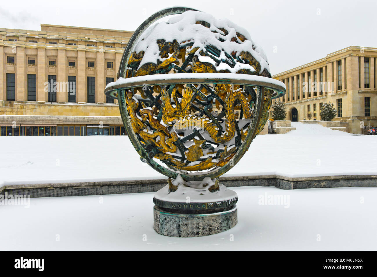 Celestial Sphere Woodrow Wilson Memorial, Palais des Nations, United Nations, at winter time, Geneva, Switzerland - Stock Image