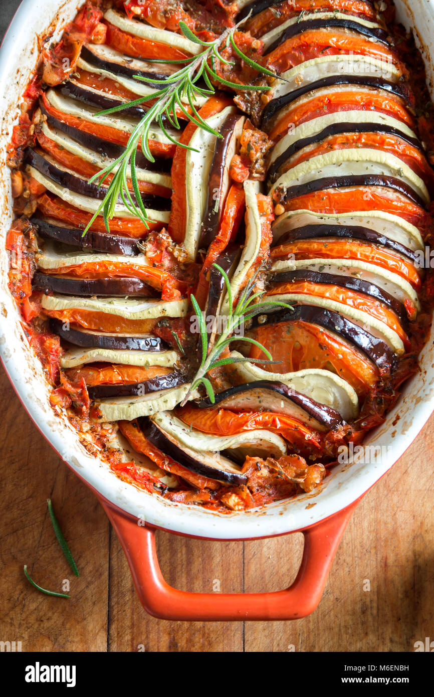 Ratatouille - traditional French Provencal vegetable dish cooked in oven. Diet vegetarian vegan food - Ratatouille - Stock Image