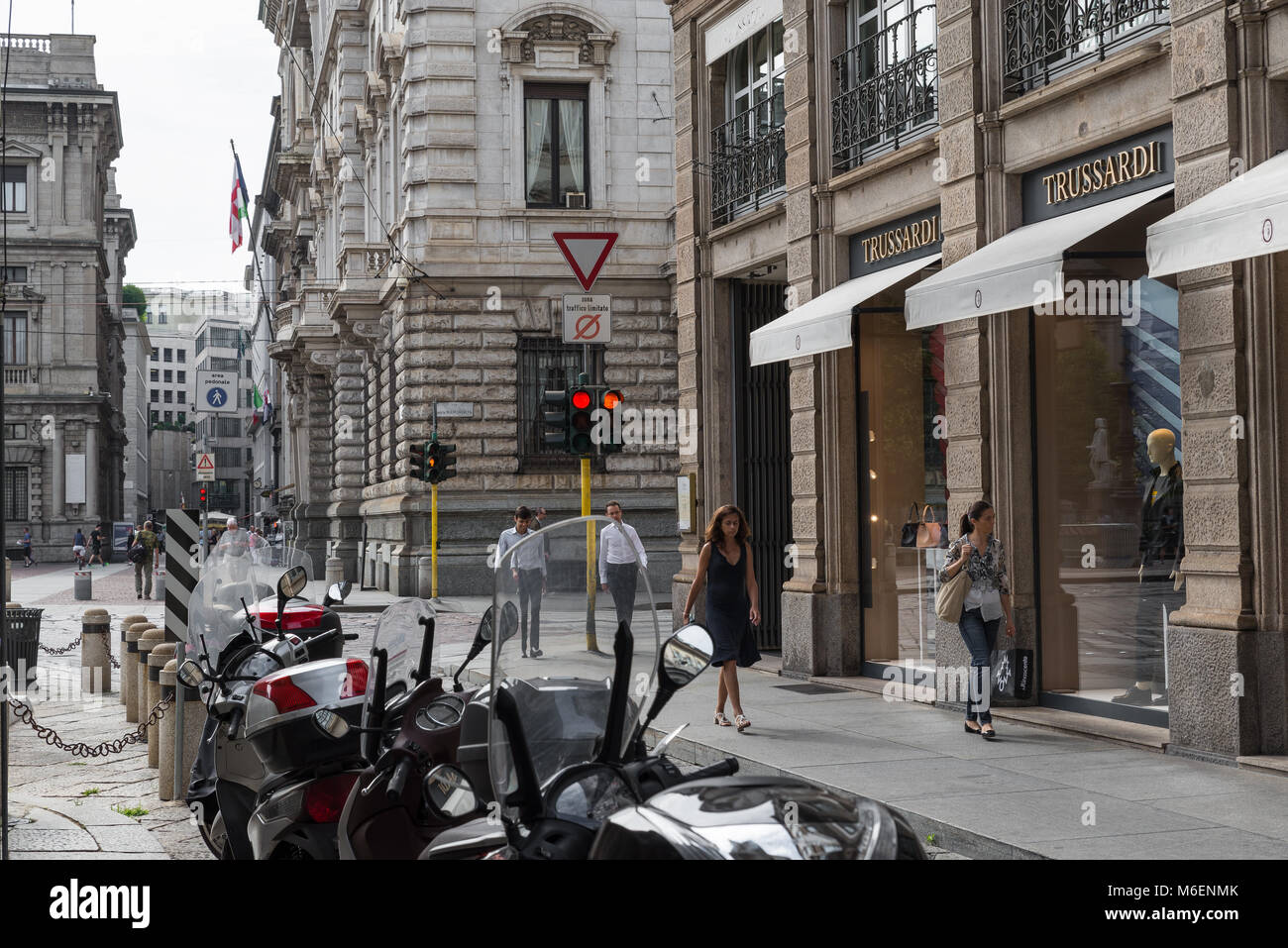 Milan, Italy - August 10, 2017: Trussardi shop in the city center of Milan. Symbol and concept of luxury, shopping, Stock Photo