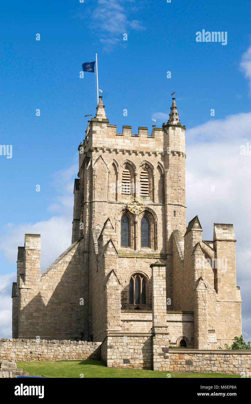 The west tower of the church of St Hilda, Hartlepool Headland, England, UK - Stock Image