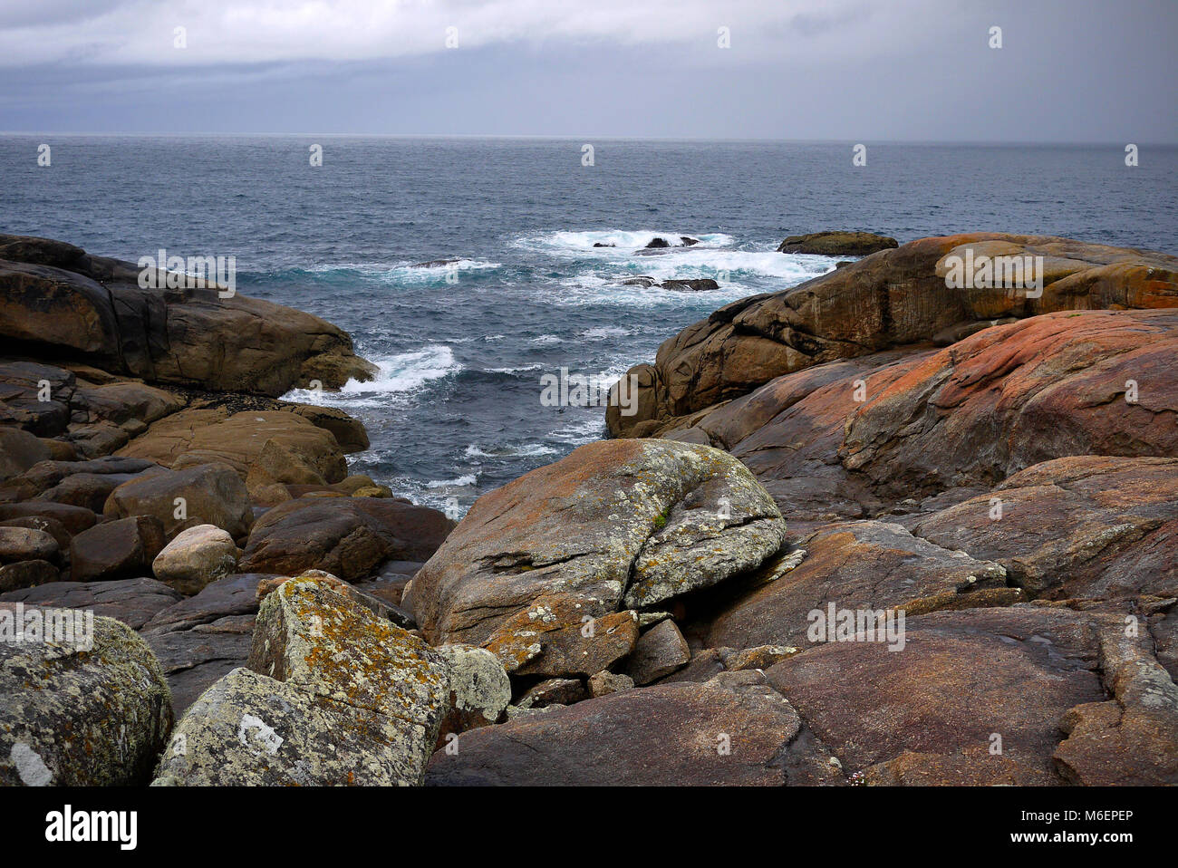 Muxia in Spain. The West coast point reached after Santiago de Compostela for many pilgrims or peregrinos. - Stock Image