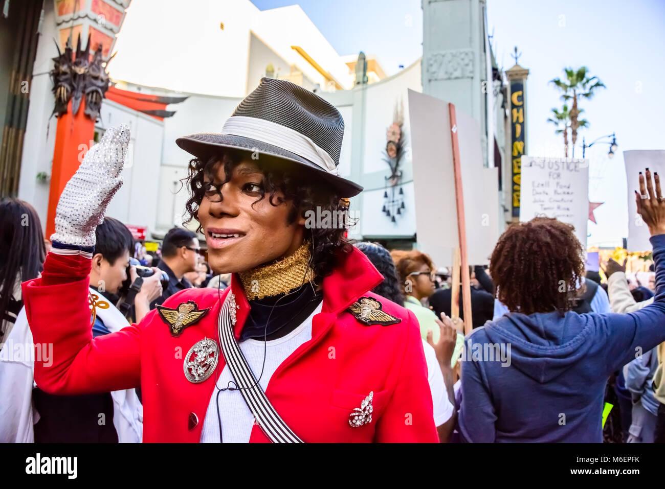 Michael Jackson Impersonator,  Hands up Don't Shoot Black Lives Matter Protest Demonstration, Hollywood Walk - Stock Image