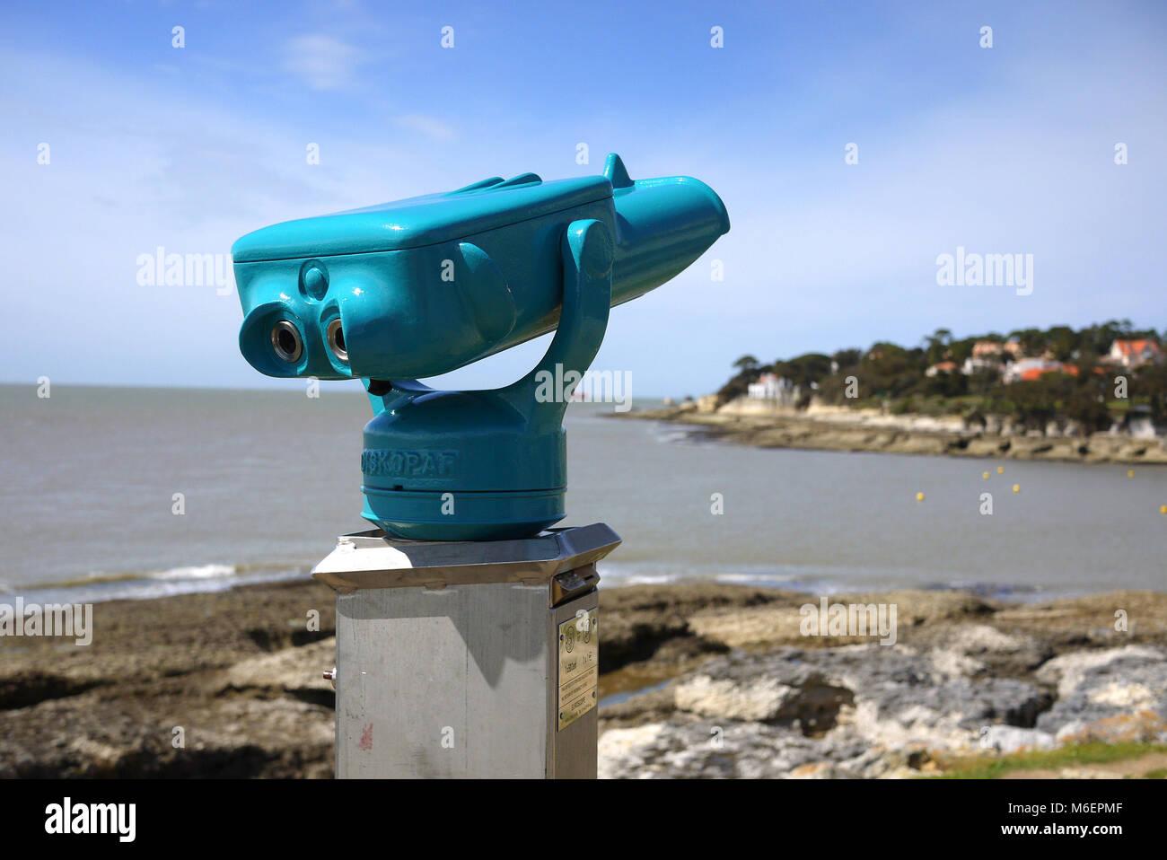 France, near Royan, Coin Operated Binoculars overlooking seaside coast - Stock Image