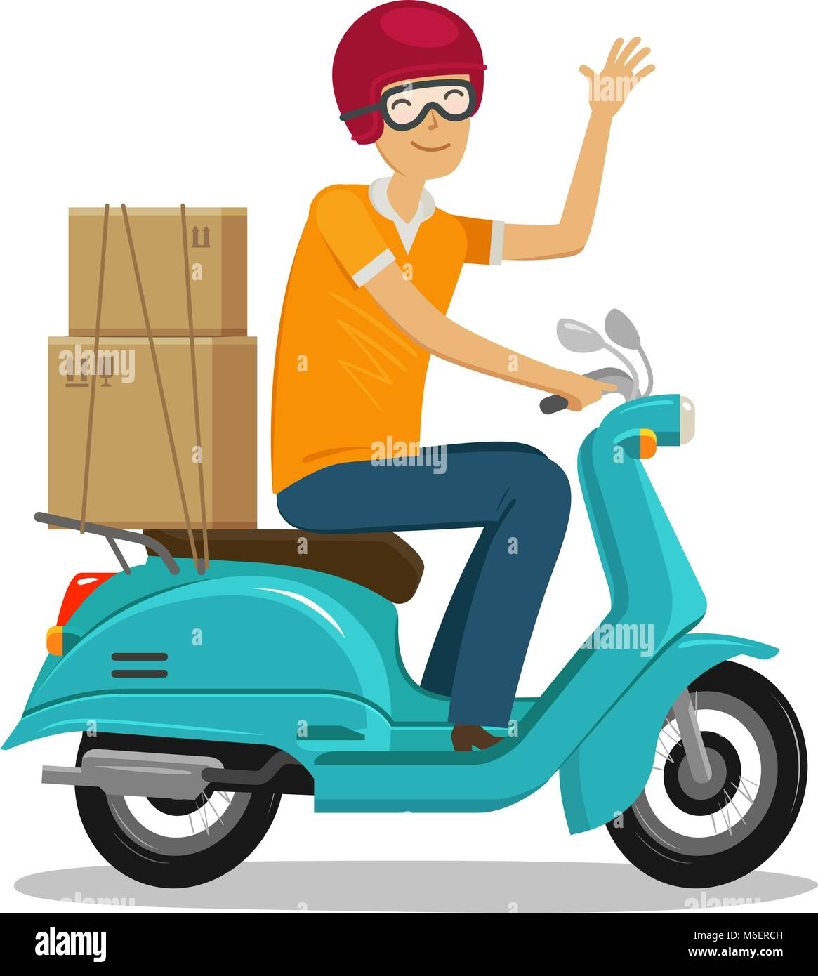 Express delivery, fast shipment concept. Happy courier rides scooter or moped. Cartoon vector illustration - Stock Image