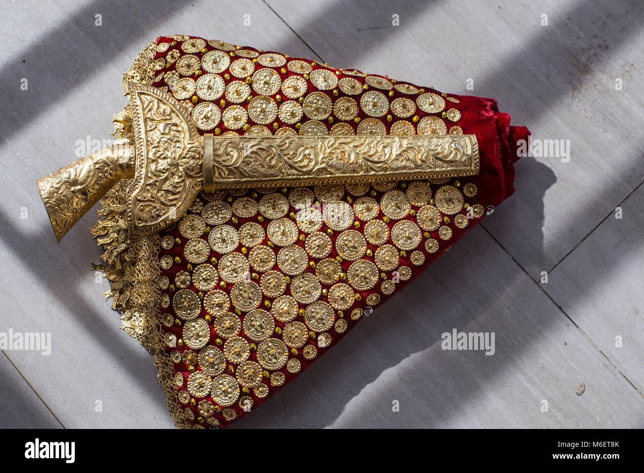 Keris, one of the bridal decoration - Stock Image