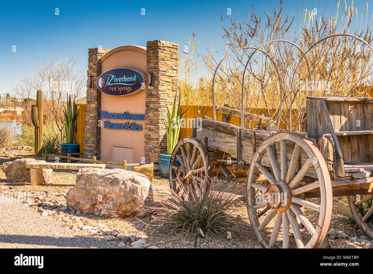 Riverbend Hot Springs, Mineral Springs Resort and Spa located on the Rio Grande River  in Truth or Consequences - Stock Image