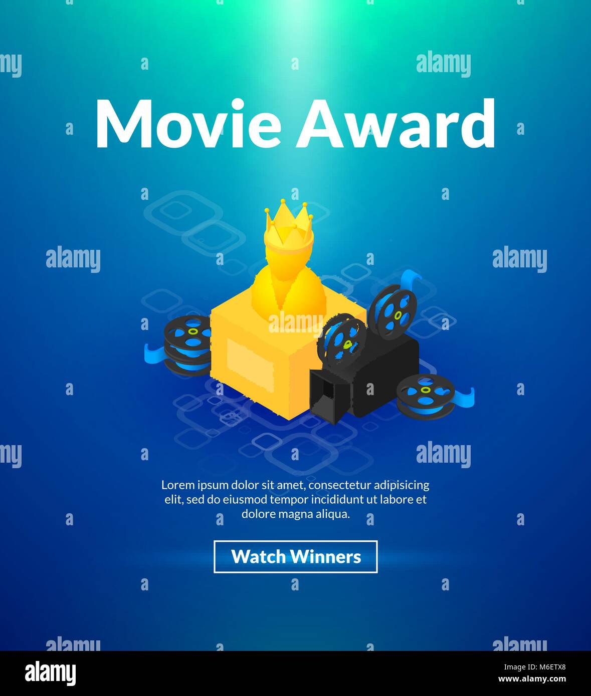 Movie award poster of isometric color design Stock Vector