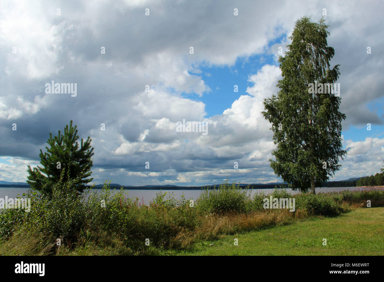 Beach by Orsa lake in Dalarna, Sweden, in August. - Stock Image