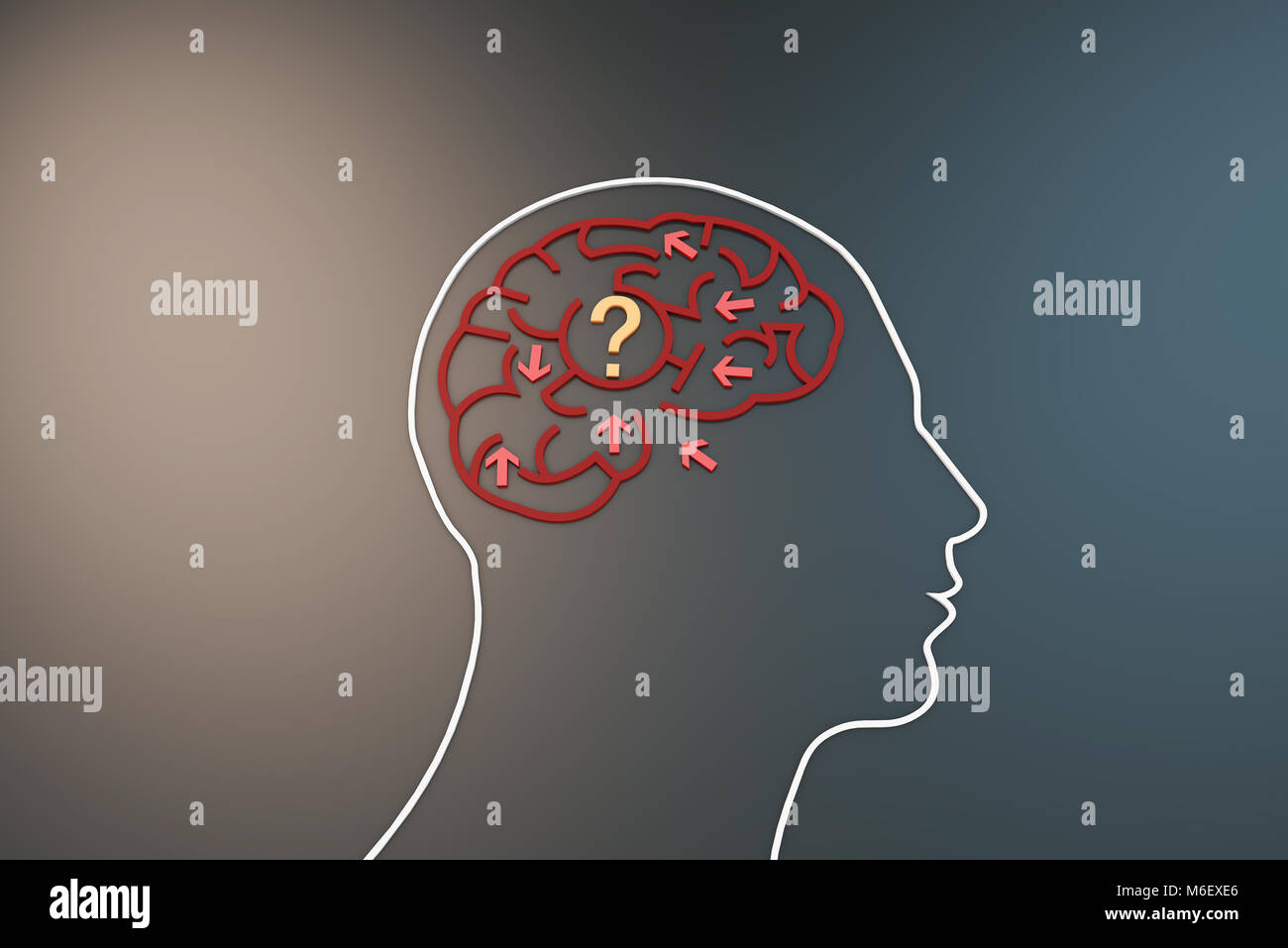 Brain with maze, chaotic arrows, thinking confusion - Stock Image