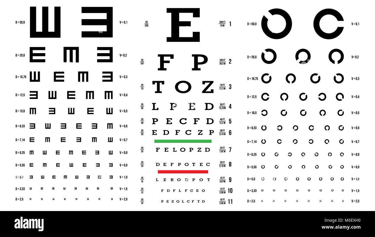 Eye Test Chart Vector Vision Exam Optometrist Check