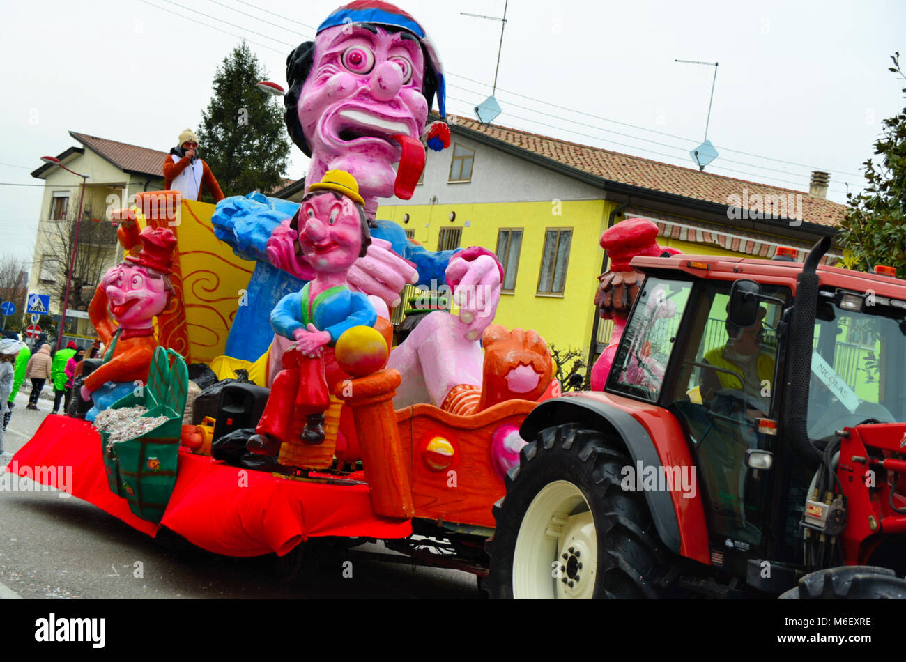 Cadoneghe, Veneto, Italy. The carnival of Cadoneghe is famous throughout the region for its allegorical floats. - Stock Image