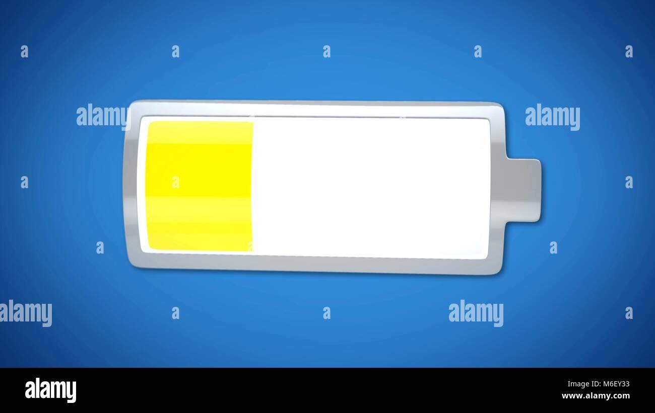 Low battery charge, yellow warning, energy saving mode, laptop power management - Stock Image