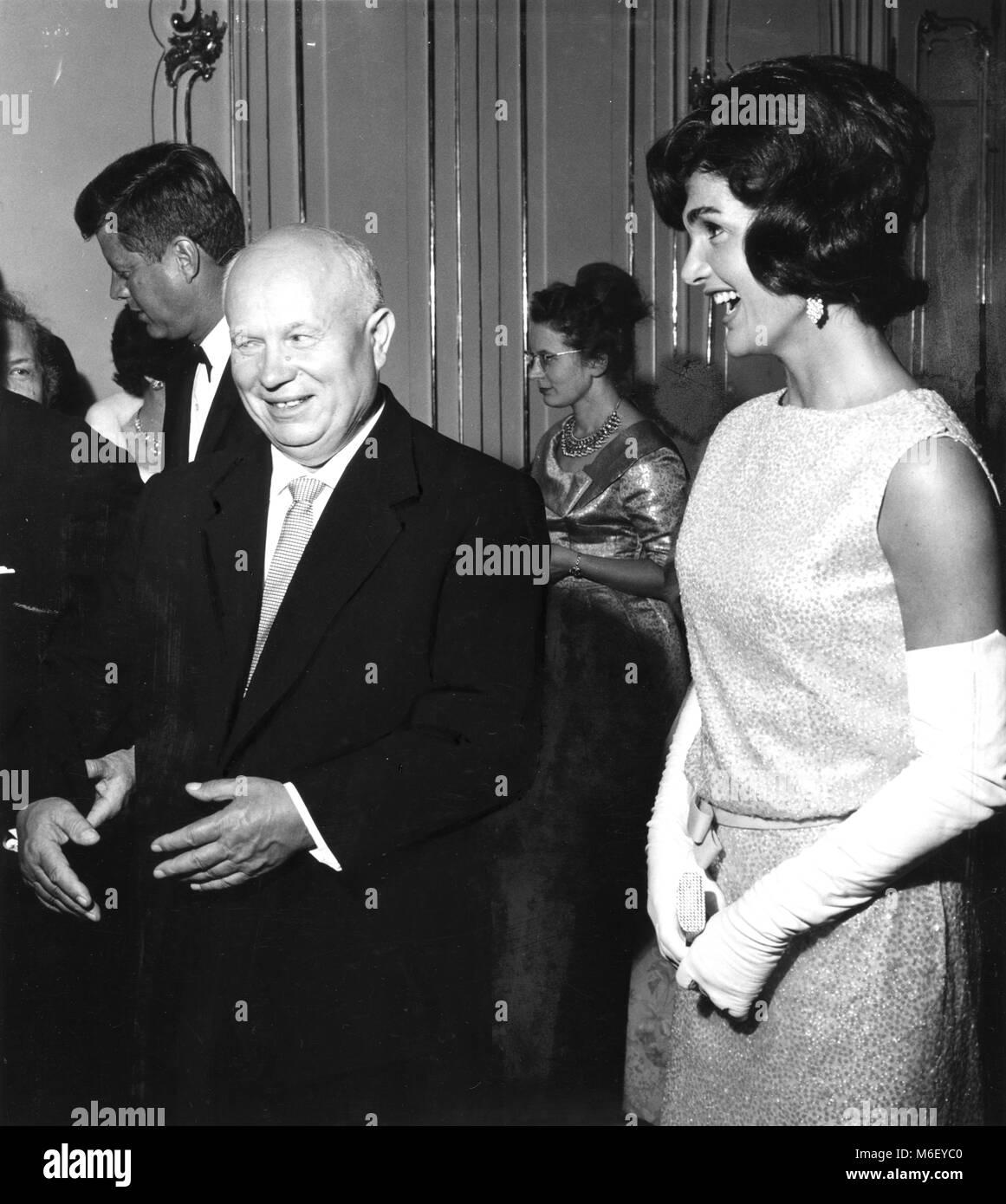 Mrs Jacqueline Kennedy, wife of the U S President John F Kennedy, and Soviet Premier Nikita Khrushchev enjoy a laugh - Stock Image