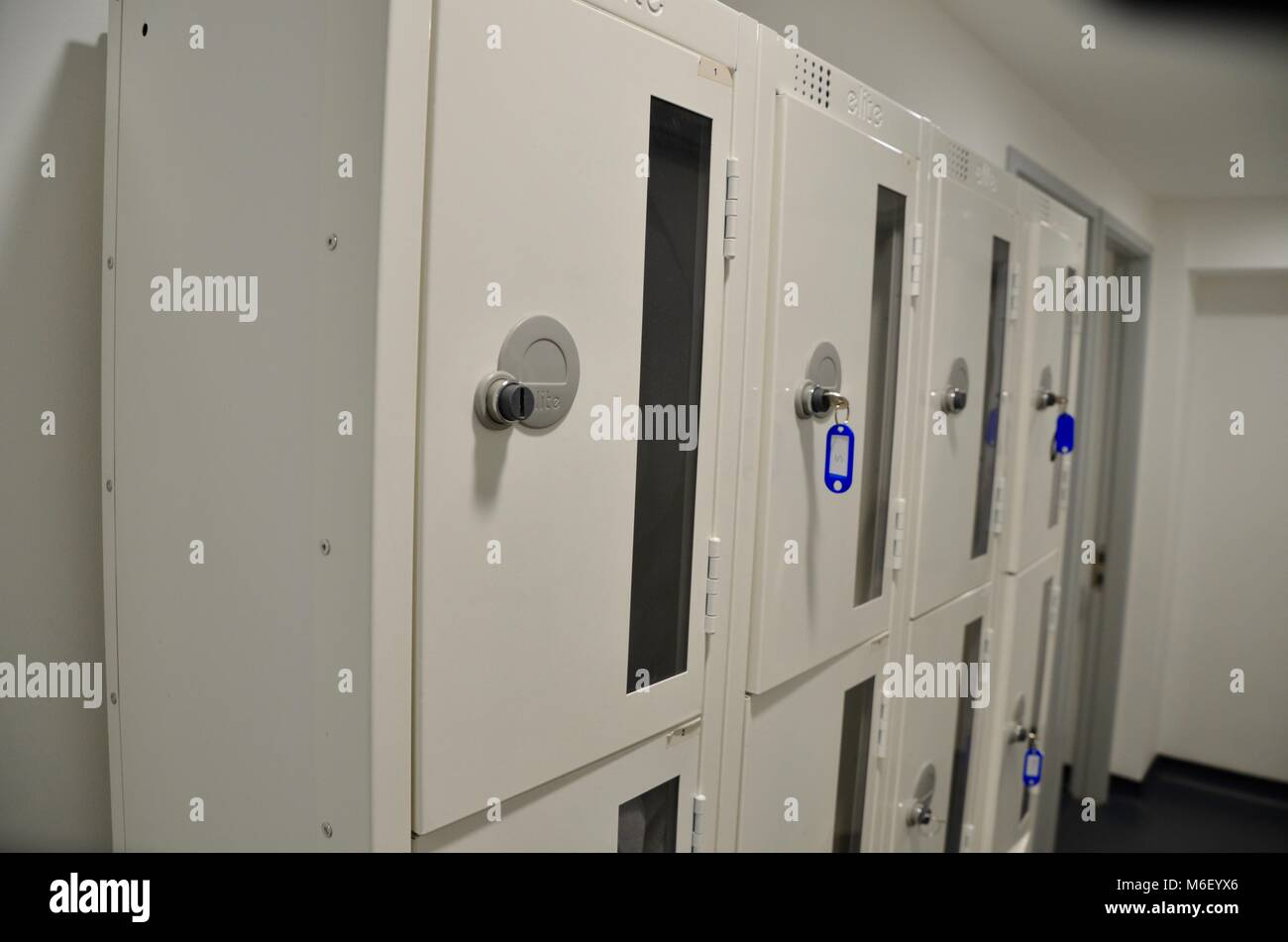 a row of lockers at the postal museum london england uk - Stock Image
