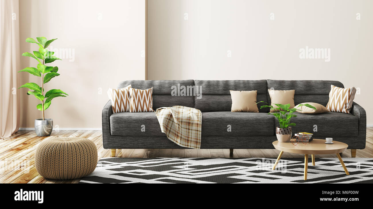 Picture of: Modern Interior Of Living Room With Black Sofa Knitted Pouf And Stock Photo Alamy