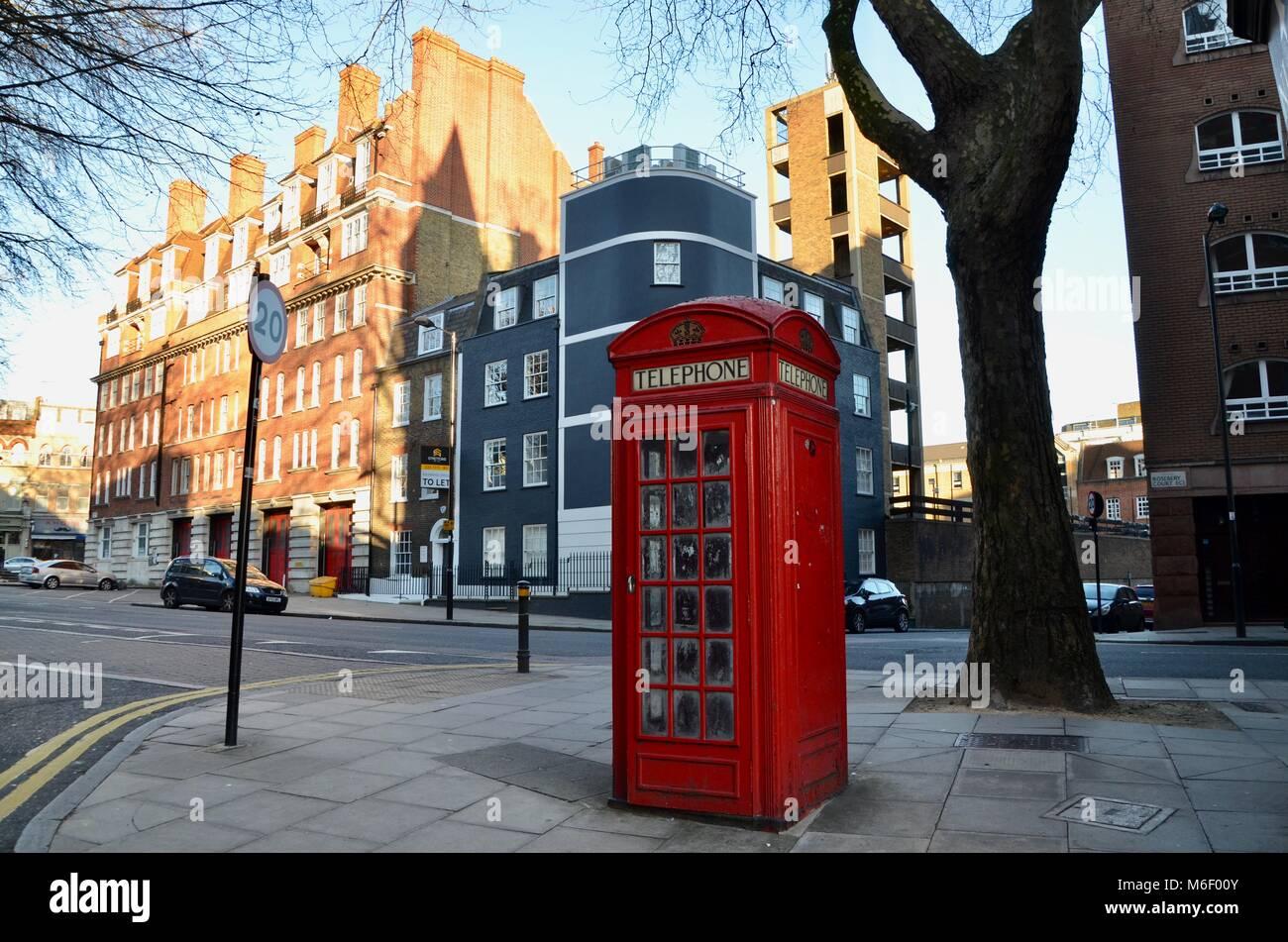 the iconic k2 telephone kiosk design seen here in clerkenwell london great britain - Stock Image