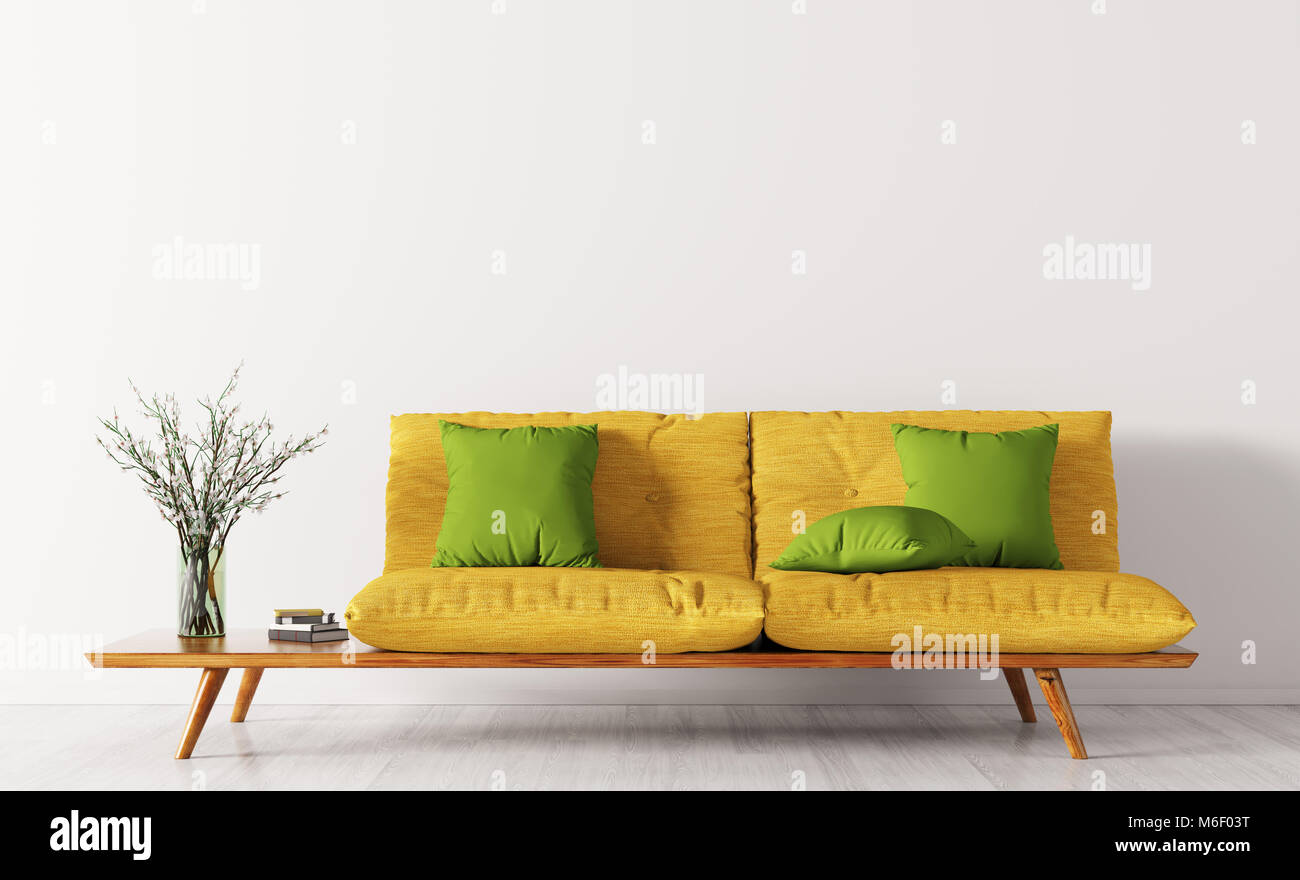 Modern interior of living room with yellow sofa and green cushions ...