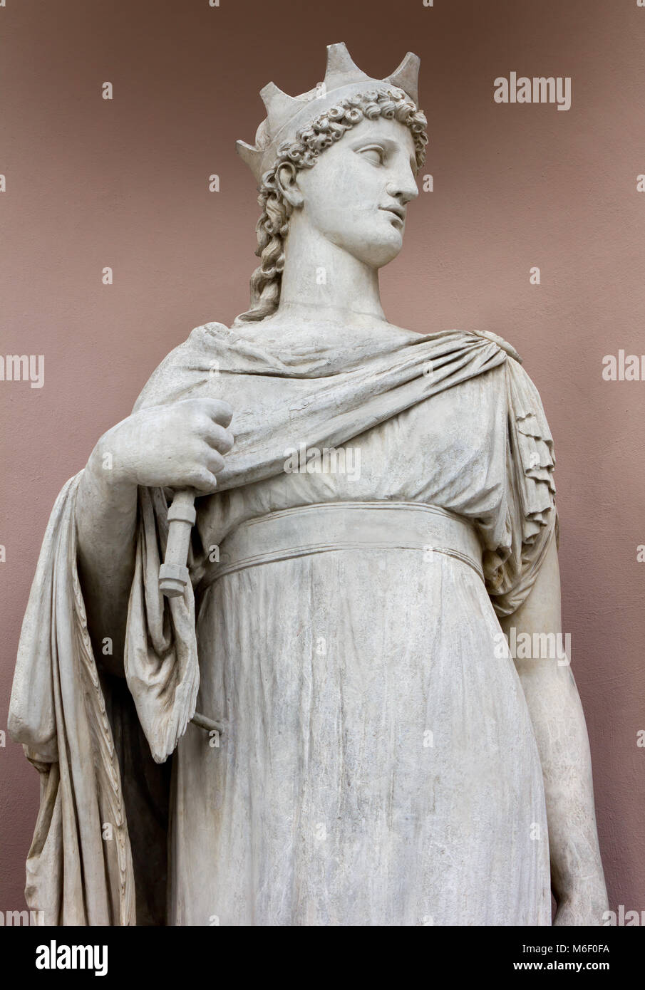 Neoclassic marble statue in its niche - Stock Image