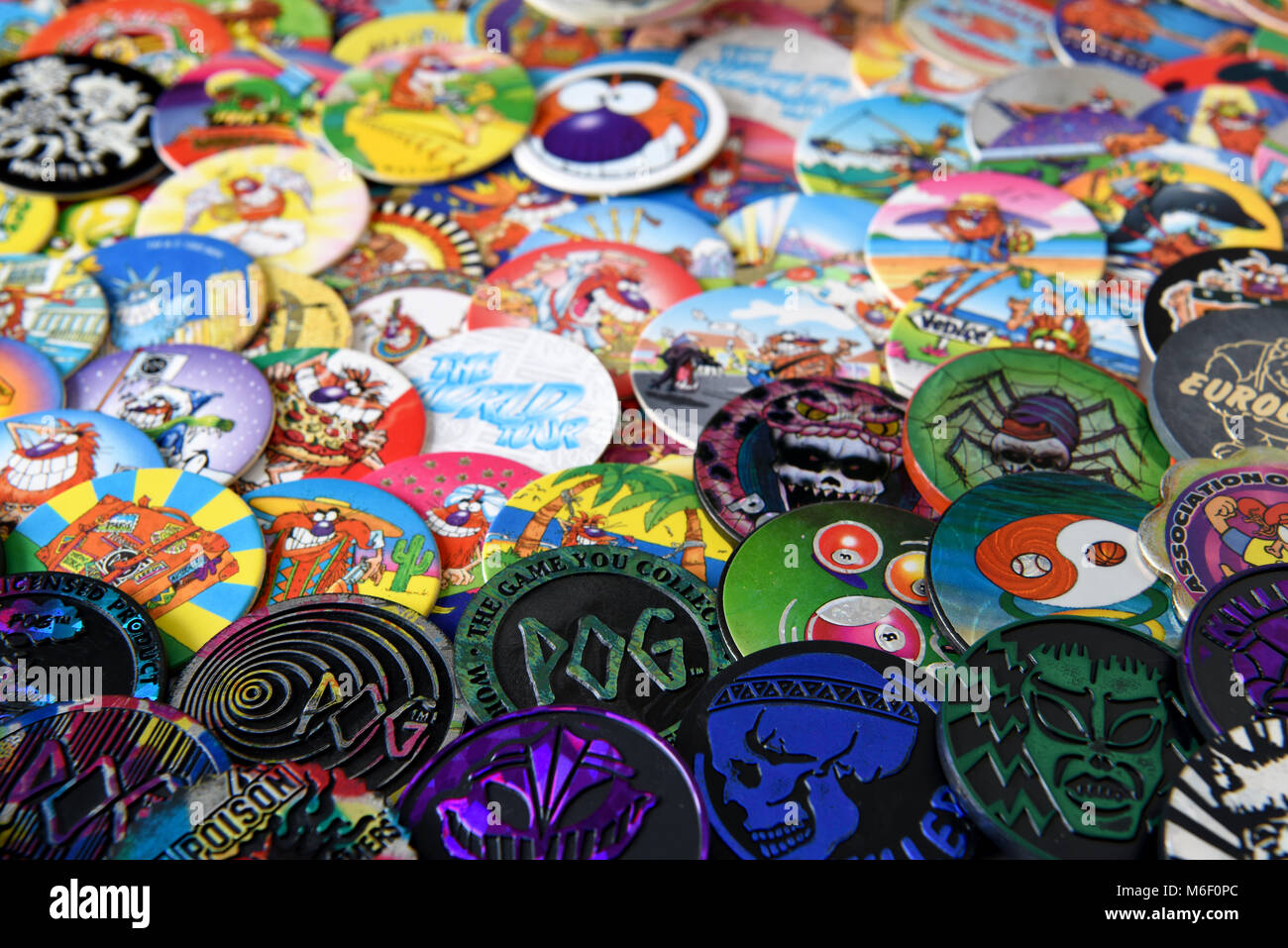 Collection of the Mid 90's game of Pog's Stock Photo