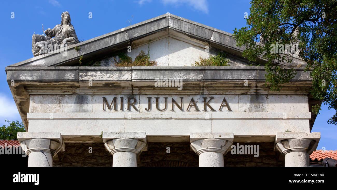 Facade of the former mausoleum in Trsat, Rijeka, Croatia - Stock Image