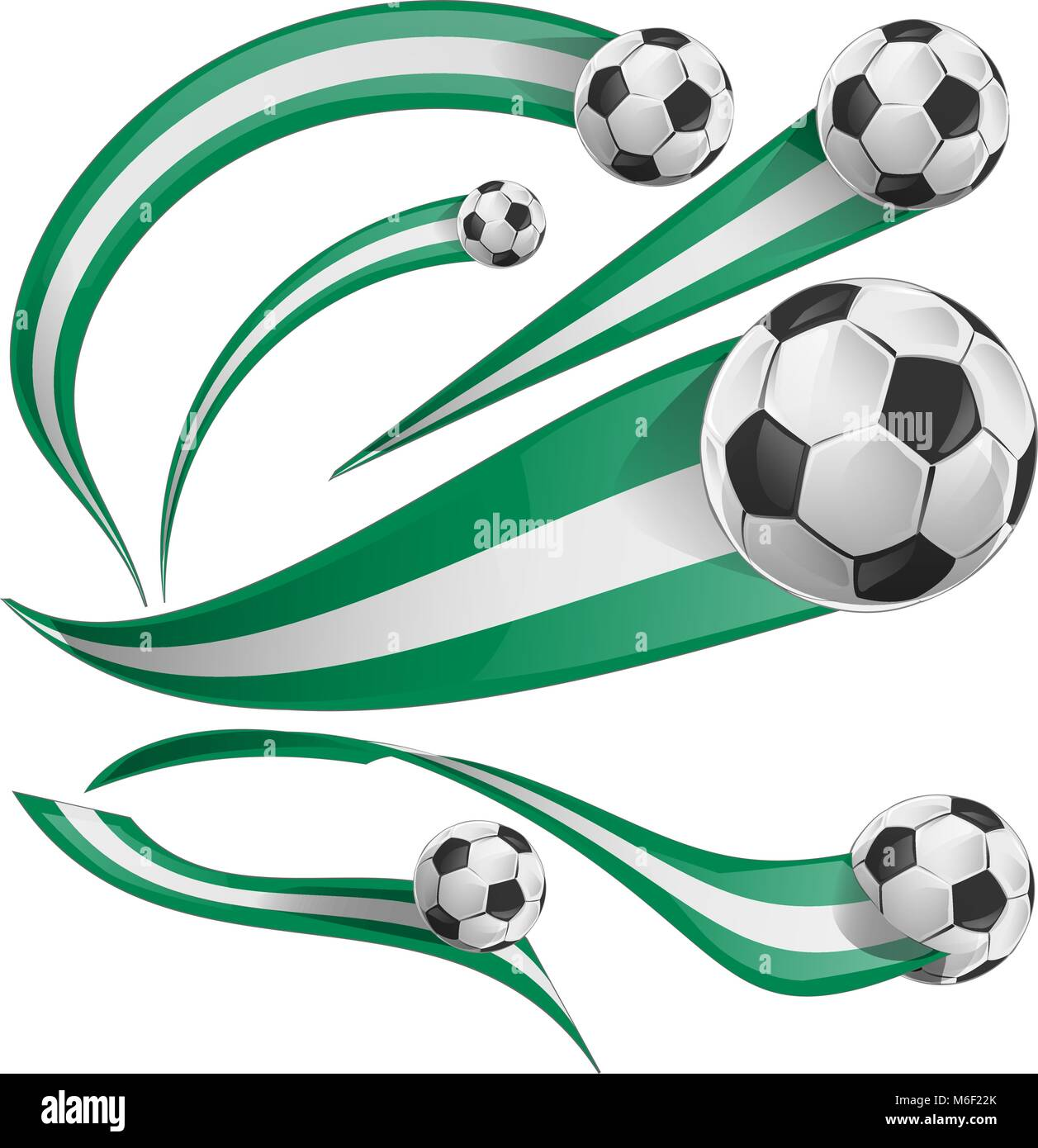 nigeria flag set with soccer ball isolatet on white - Stock Vector