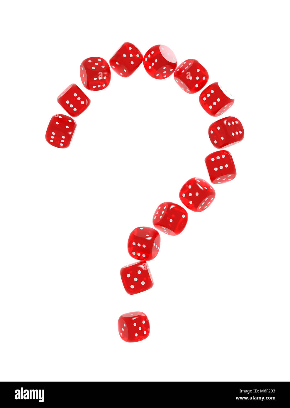 Question mark made of red gambling dices. Risk behind gambling concept - Stock Image