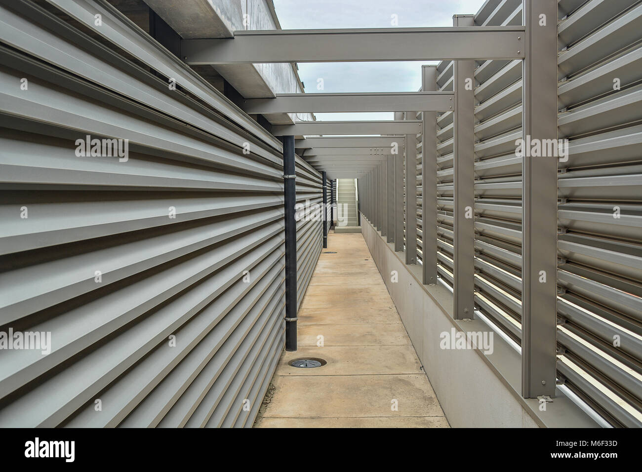 hall on the top of the building, metallic structure - Stock Image