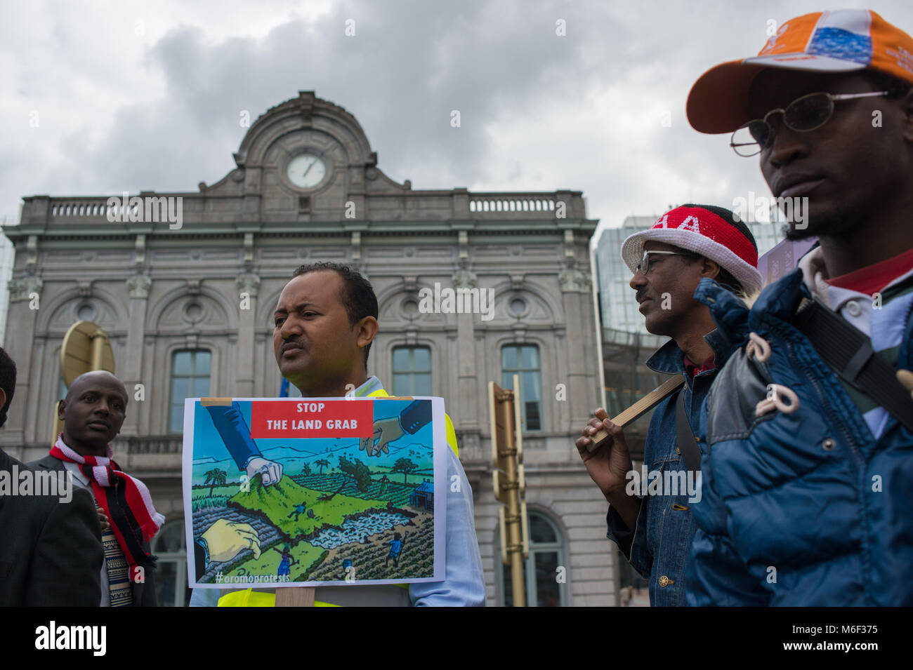 Bruxelles, Ethiopian delegation protest against land grabbing, European parliament. Belgium. - Stock Image